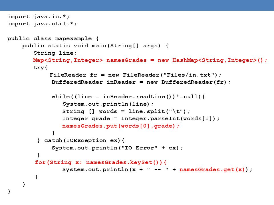 import java.io.*; import java.util.*; public class mapexample { public static void main(String[] args) {